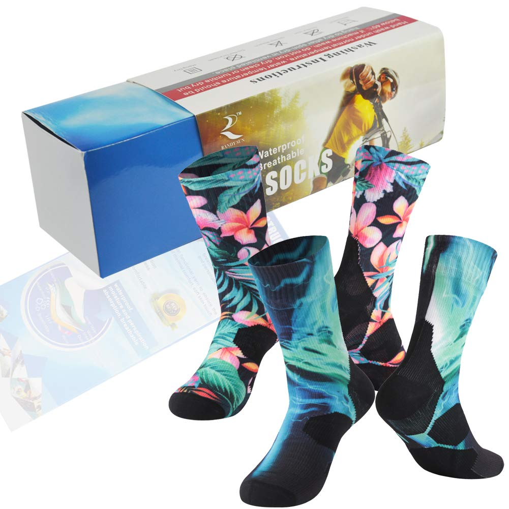 Waterproof Breathable Socks, Dry-Fit Socks, RANDY SUN Men Socks For Athlete in Wet Environments 2 Pairs Multicolored Mid Calf Size M