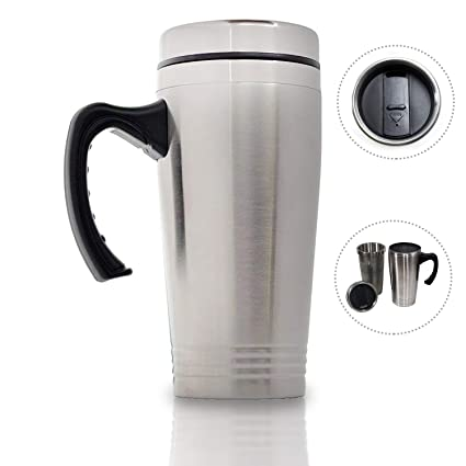 071b7216309 16 Oz Insulated Coffee Travel Mugs Tumbler with Handle, 7 Inches Tall  Stainless Steel Double
