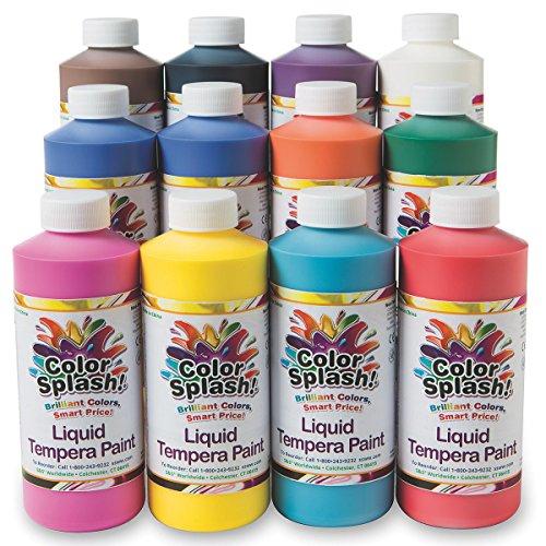 S&S Worldwide W18 Color Splash! Liquid Tempera 16 oz. Assortment (Pack of 12)