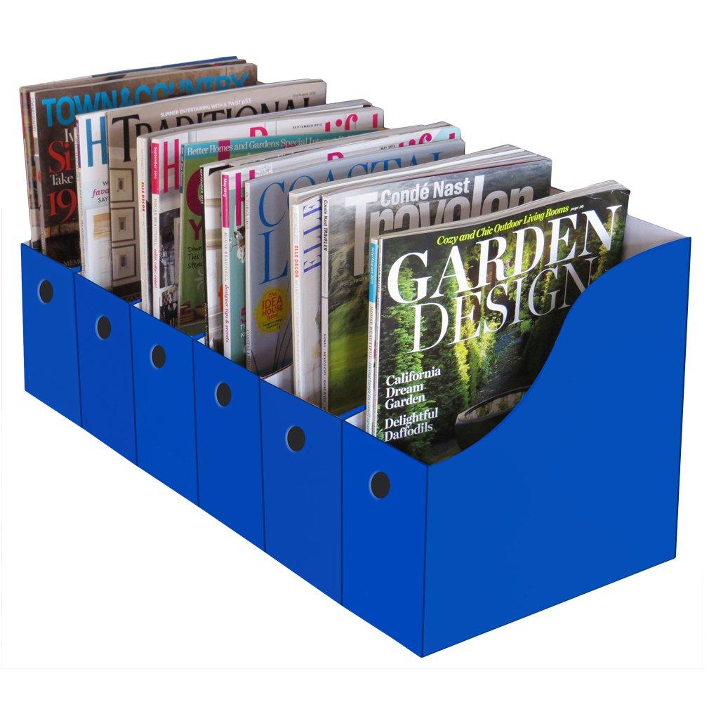 Evelots Set of 6 Magazine File Holders Desk Organizer, File Storage with Labels, Blue