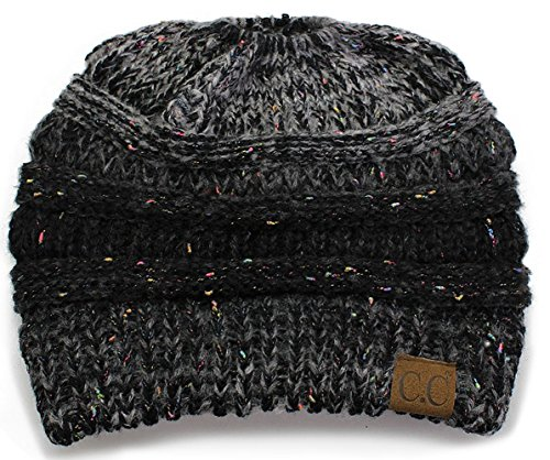 BT-6800-8106 Messy Bun Womens Winter Knit Hat Beanie Tail - Variegated Black