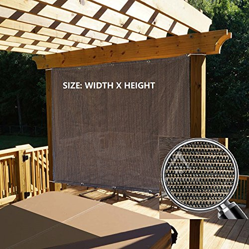 Alion Home Outdoor Sun Shade Privacy Panel with Grommets on 2 Sides for Patio, Awning, Window, Custom To Order (5' x 6', Mocha Brown)