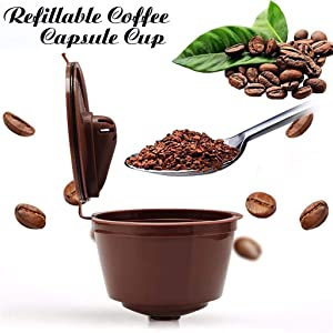 JETTINGBUY Refillable Coffee Capsules Cup, Durable Reusable Coffee Pods Filter Cup for Dolce Gusto, Compatible