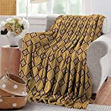 PearlRolan Flannel Blanket,African,Tribal Tile Pattern with Diamond Line Motifs Ancient Cultures,Mustard Dried Rose