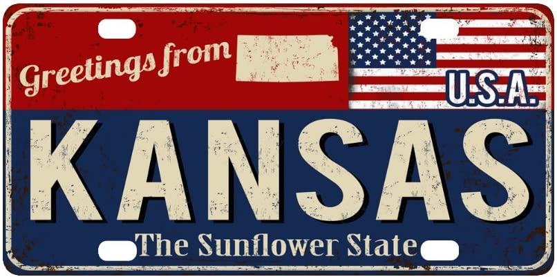 12 x 6 InterestPrint Greetings from Alaska Rusty Metal Sign with American Flag Metal License Plate Tag Sign Decor for Car Woman Man
