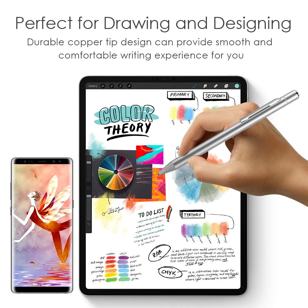 Heiyo Stylus Pen with Magnetic Charging Station 30-Day Standby /& 10 Hrs Using Time Rechargeable Capacitive Digital Pen Compatible for iPad//iPhone//Surface//HP Touch Screen Tablets IOS//Android//Windows