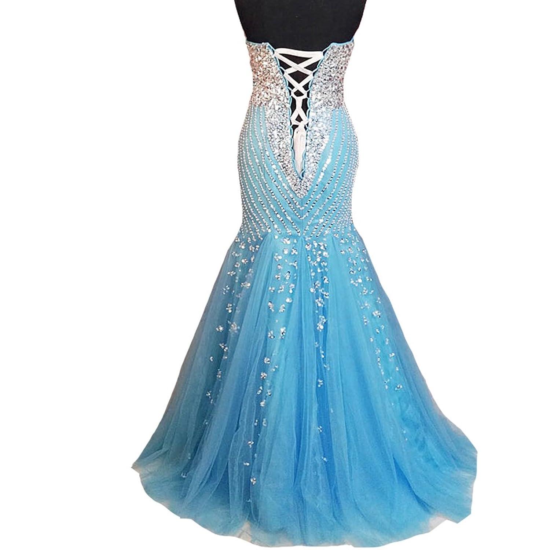 Amazon.com: Kivary Mermaid Long Crystals Beaded Tulle Corset Formal ...