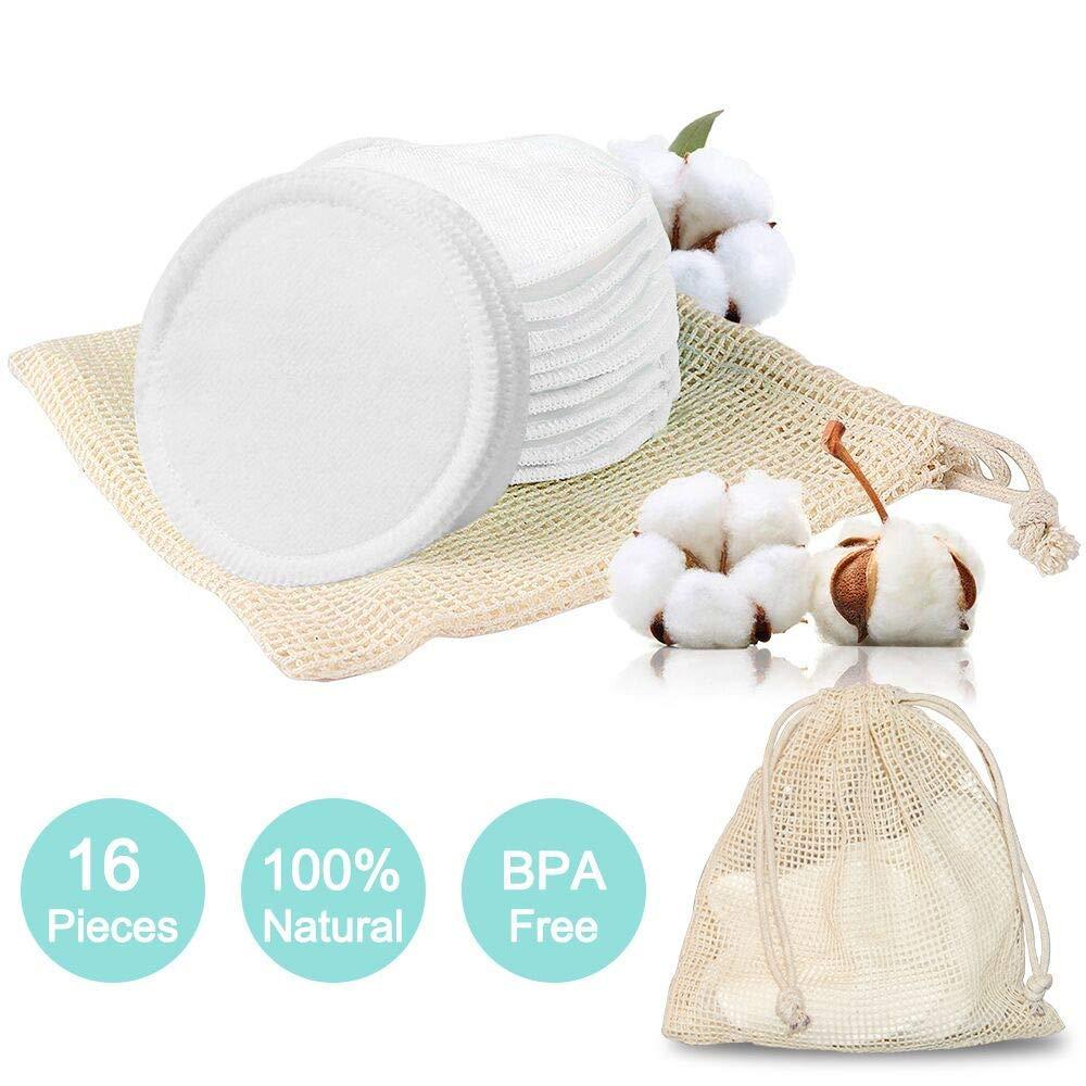 Microfibre Disque d/émaquillant lavable bio Tampons D/émaquillants Lavable R/éutilisable Tampons D/émaquillants en Coton /écologique 16 PCS Tampons D/émaquillants Bambou