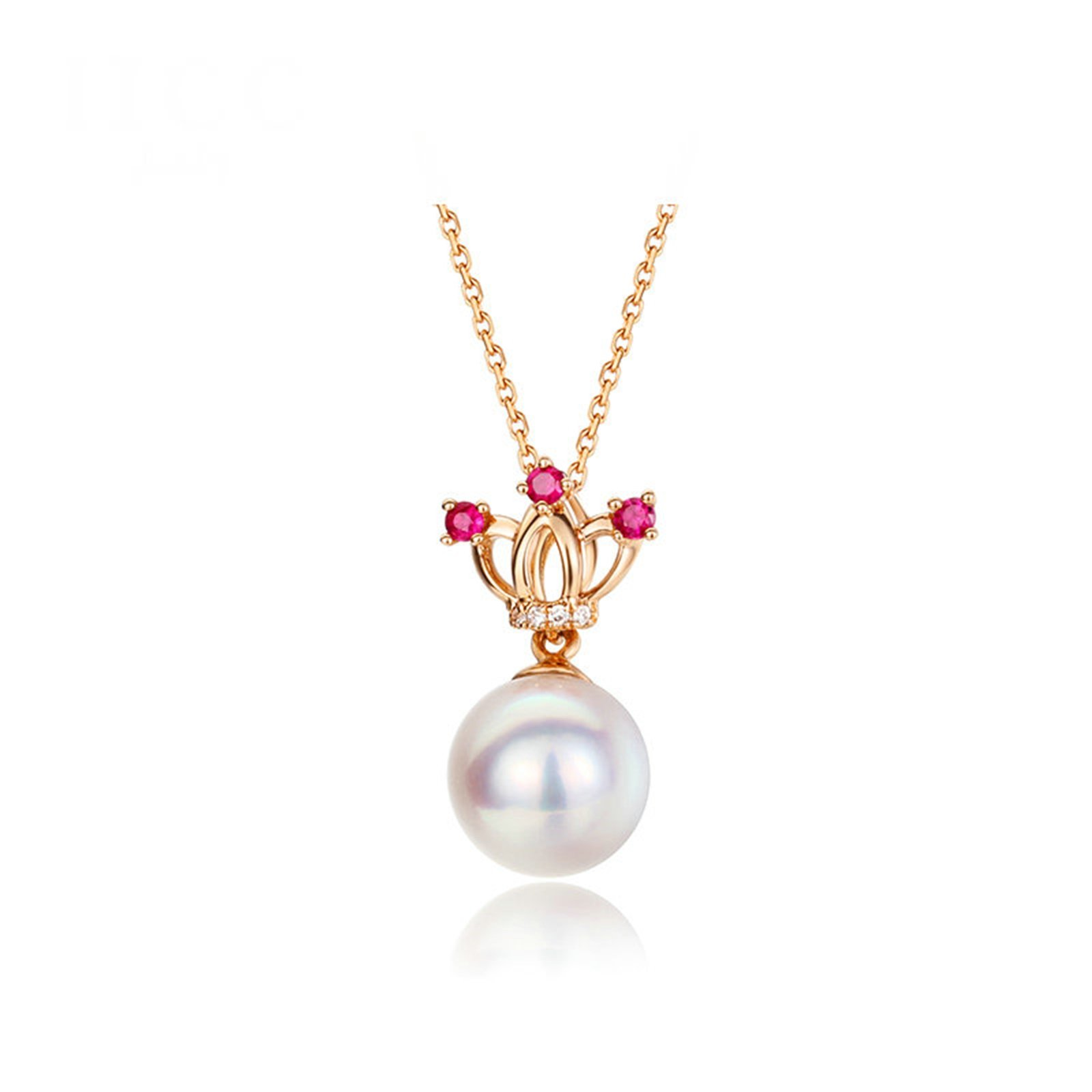 Daesar 18K Gold Necklace For Women Crown Hollow Pearls CZ Pendant Necklace Rose Gold Chain Length: 40CM