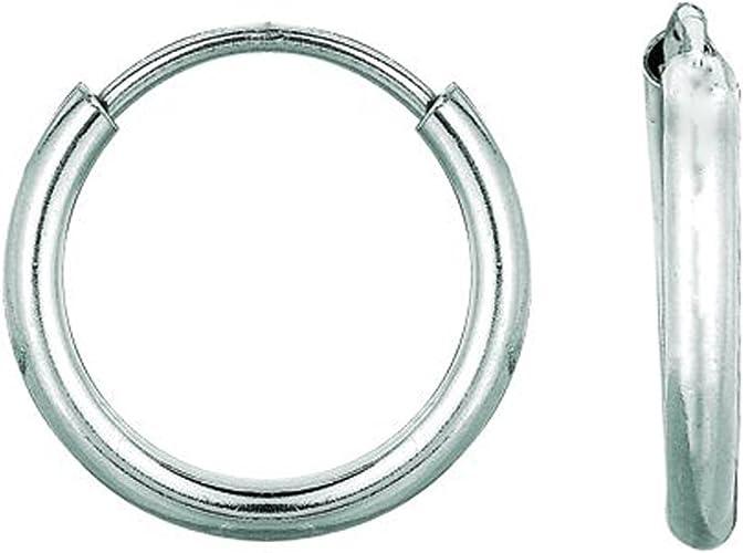 Sterling Silver Tubular Hoop Earrings 12mm