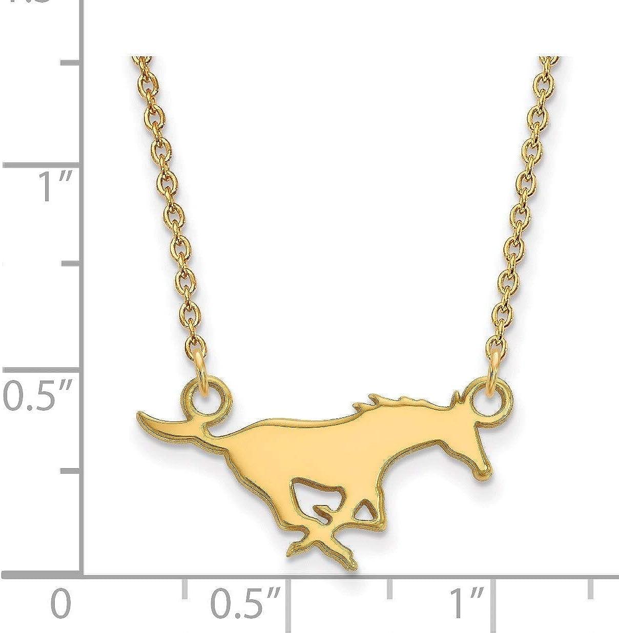 Lex /& Lu LogoArt 10k Yellow Gold Southern Methodist University Small Pendant w//Necklace