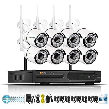 Sistema De Cámaras De Seguridad Inalámbrico 8 Canales WiFi Video Casero Vigilancia con 960P Cámaras De
