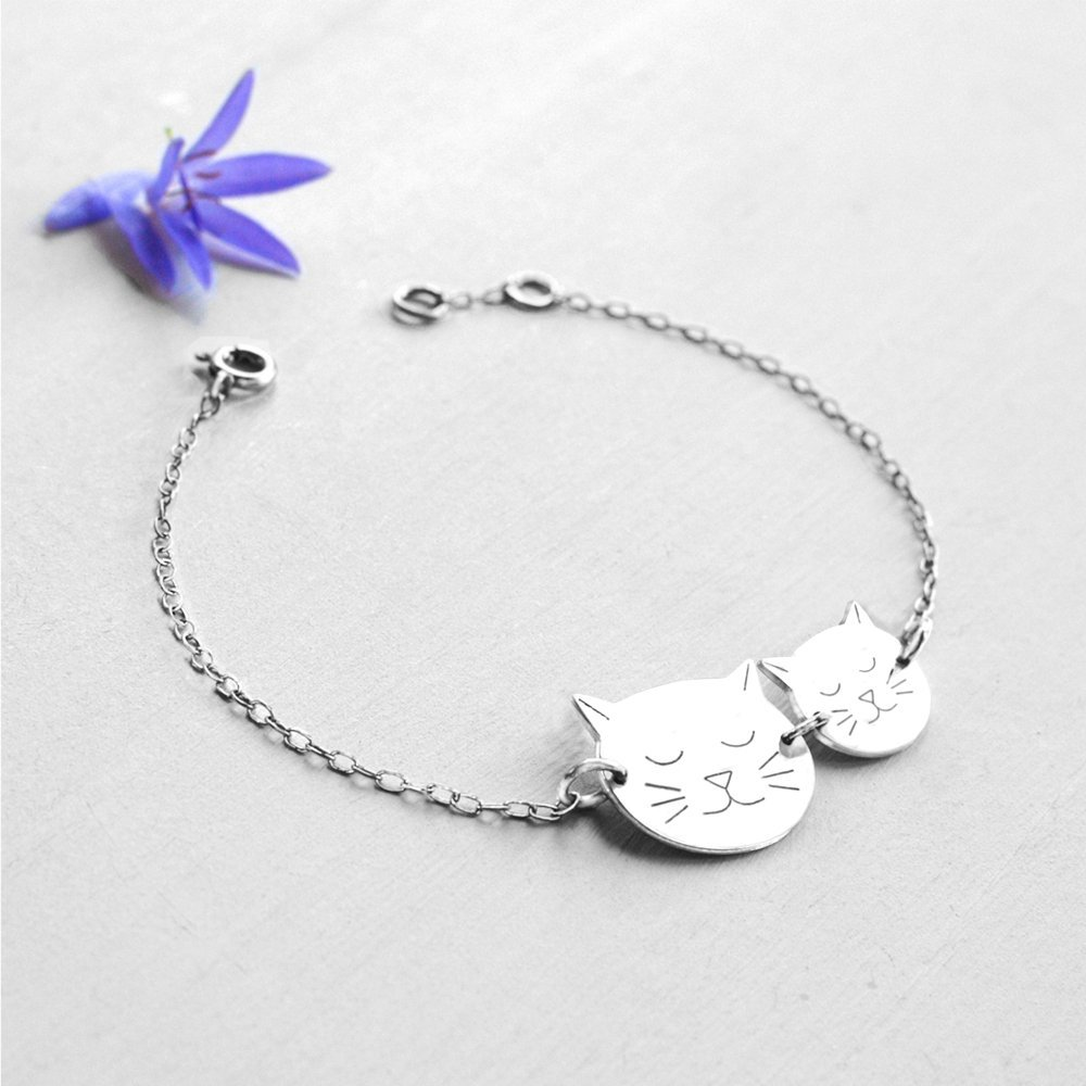 Personalised Sterling Silver Mummy and Baby Cat Face Bracelet