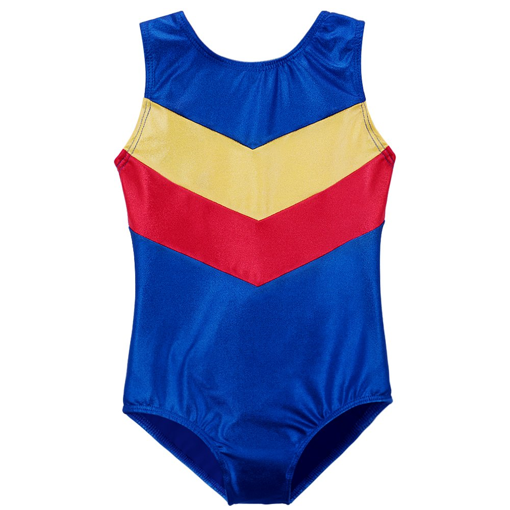 DAXIANG Leotard for Little Girls One-piece Shining V Stripes Gymnastics Athletic Costume