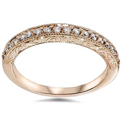 Amazoncom 12ct Vintage Diamond Rose Gold Wedding Ring 14K Jewelry