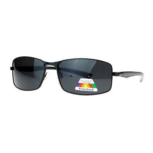46edd0da209 SA106 Mens Polarized Spring Hinge Luxury Designer Fashion Narrow  Rectangular Sunglasses Black