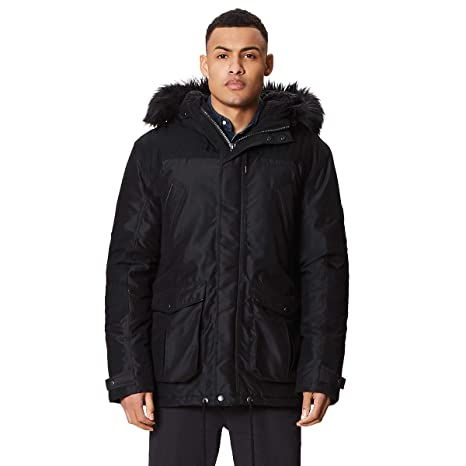 4f027710fa6 Regatta Men's Aldrich Waterproof And Breathable Thermoguard Insulated  Sherpa Fur Lined Hooded Jacket, Black,