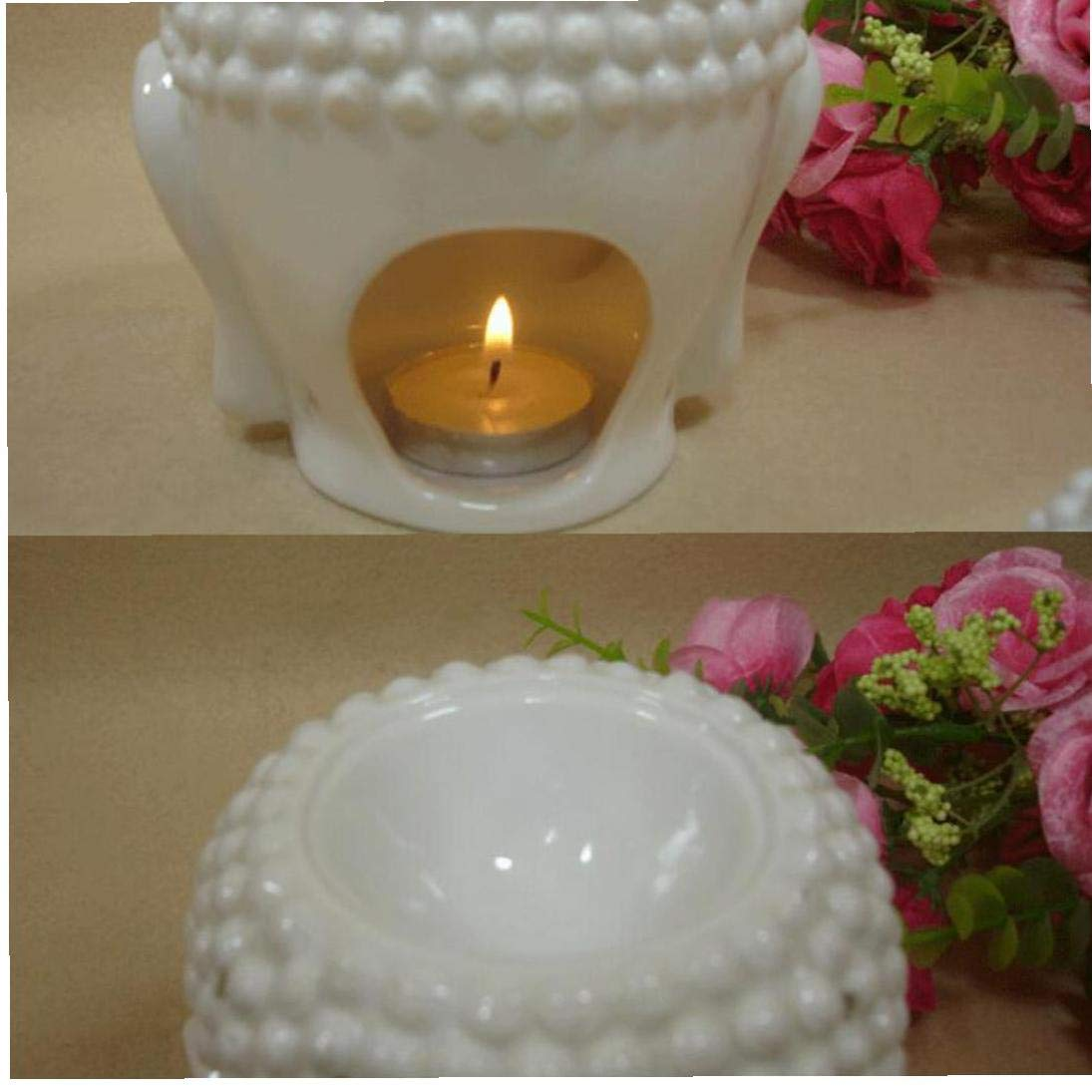 IUwnHceE 1pcs Ceramic Buddha Head Essential Oil Burner Translucent Ceramic Aromatherapy Diffusers Tealight Candle Holders Buddha Ornament for Yoga Spa House Decor White