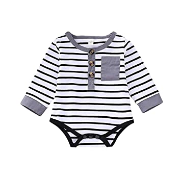 89944e26675 Casual Infant Toddler Baby Girl Boy Striped Romper Long Sleeves Cotton  Bodysuit Onesie Outfit Jumpsuit Clothes