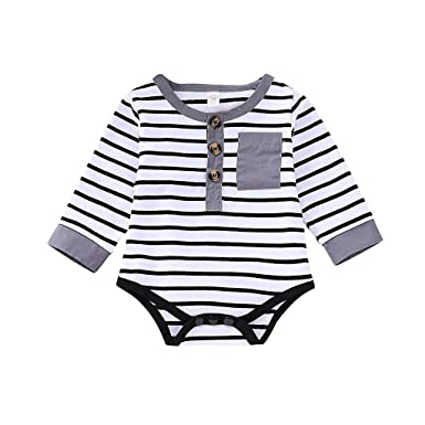 07c2155b14bf Amazon.com  Drindf Boys Clothing Newborn Infant Toddler Baby Girl Boy Long  Sleeve Stripe Romper Jumpsuit Clothes with Button Pocket  Clothing