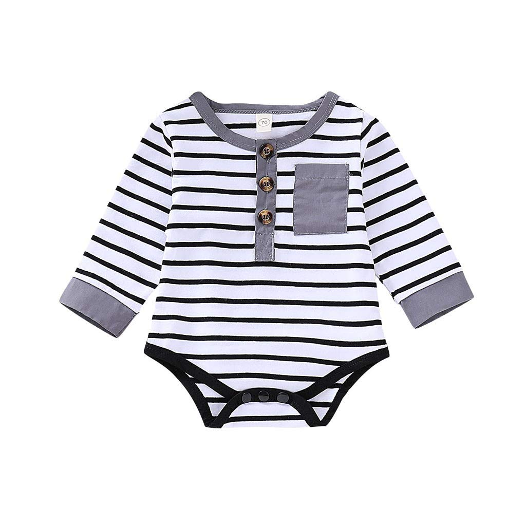 NUWFOR Infant Toddler Baby Girl Boy Long Sleeve Stripe Romper Jumpsuit Clothes(Gray,3-6Months