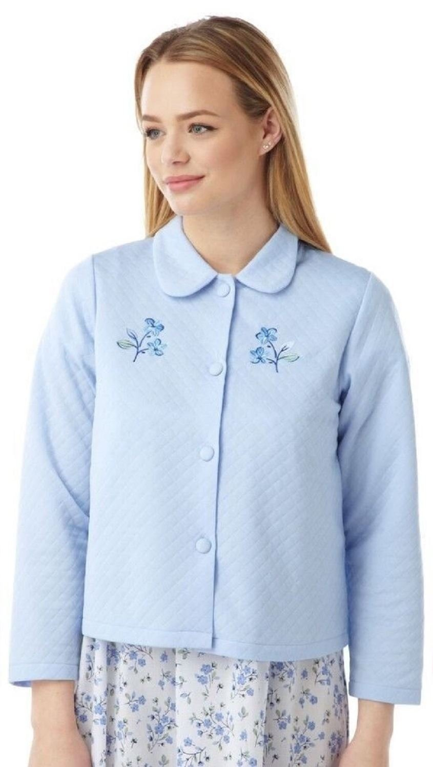 Marlon Ladies Lightweight Quilted Button Bed Jacket with Embroidery by MA08772 Blue 16-18
