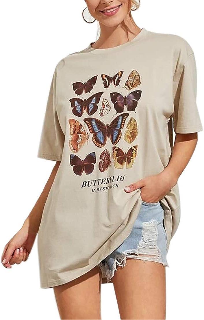 Meladyan Women's Butterfly Printed Graphic Loose Tee Short Sleeve Round Neck Loose Tshirt Tops