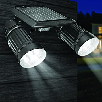 GloBrite Solar Twin Spot Security Sensor Light With PIR Sensor and 14 Super  BRIGHT SPOTLIGHT LEDu0027s