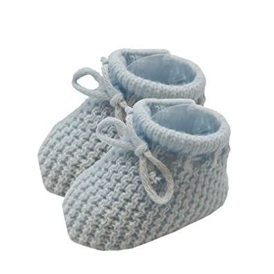 Baby Boys Girls Spanish Style Ribbon Tie Crochet Booties Soft Touch