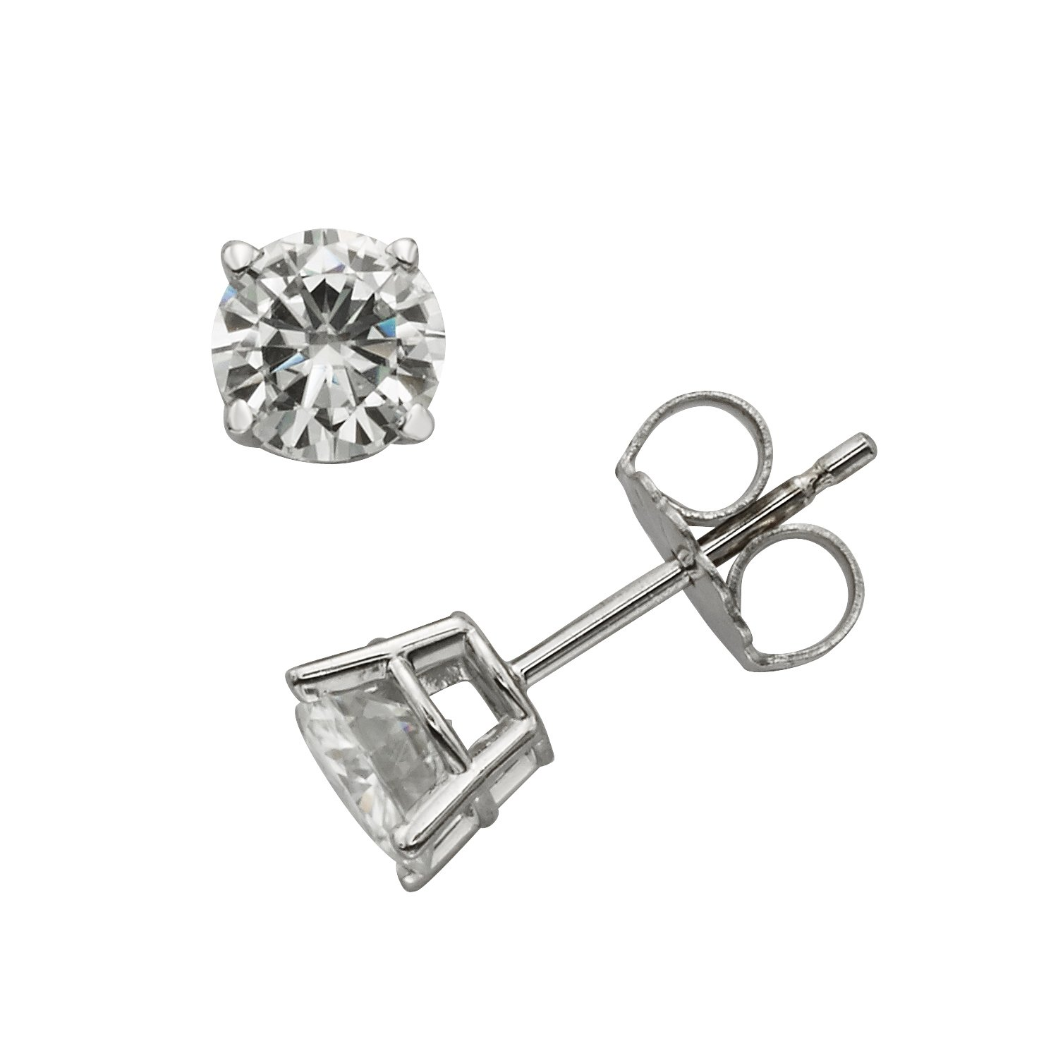 Forever Classic 5.0mm Round Cut Moissanite Stud Earrings, 1.00cttw DEW By Charles & Colvard