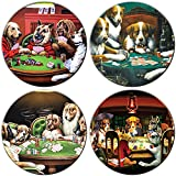 Sterling Gaming JDCDPP Dogs Playing Poker Glass Coaster Set Drink, Clear