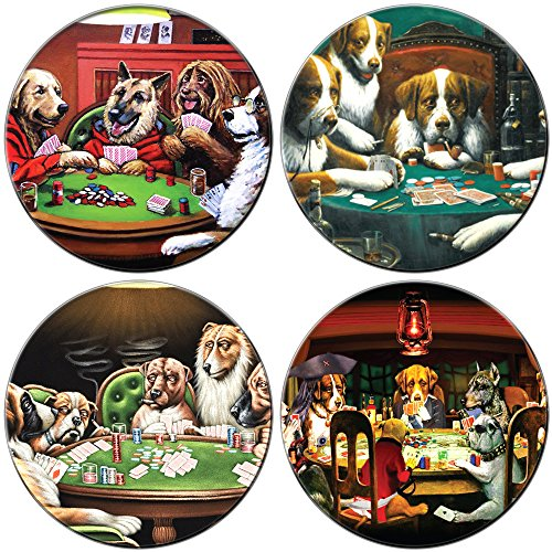 Sterling Gaming JDCDPP Dogs Playing Poker Set Glass Drink Coaster, Clear