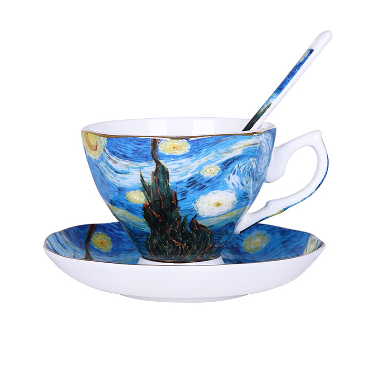 Vincent Van Gogh Bone China Tea Cup and Saucer Set With Gift Box, ''The Starry Night'' Art Coffee Mugs Set