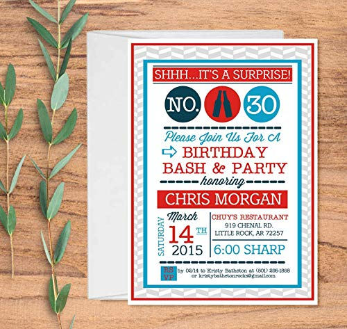 Set of 10 Personalized Surprise Birthday Party Invitations for Adults with Envelopes