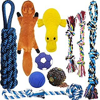 MLCINI Dog Toys Plush Dog Squeaky Toys Rope Dog Toy Dog Chew Toys Dog Toys for Medium Large Small Dogs Puppy Toys Dog Ball Dog Gift Set Dog Toy Pack with Bonus Storage Bag Safe and Durable