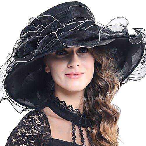 Women Corrugated Church Wide Brim Dress Hat with Rose Accent (S611-Black)