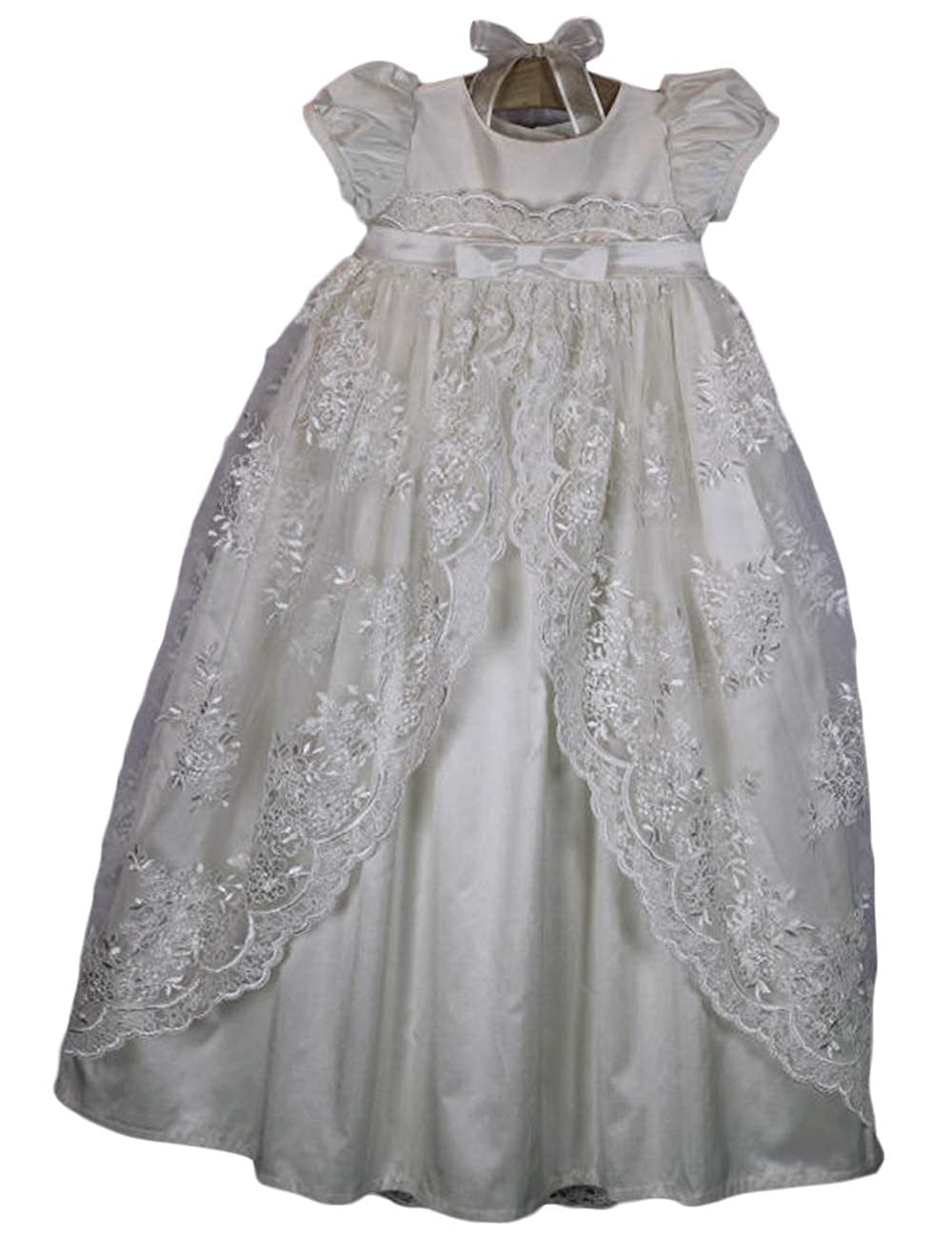 Faithclover Christening Gowns Girls Long Lace Classic Special Occasion Dresses with Bonnet