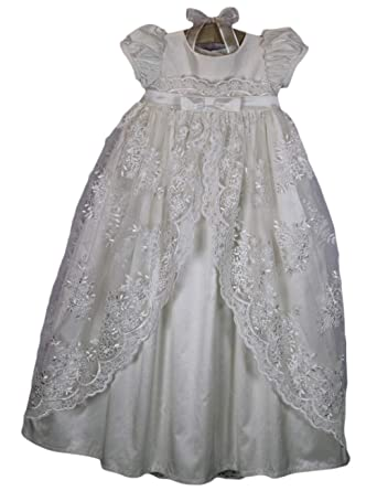 dd6613d48 Amazon.com: Faithclover Christening Gowns Girls Long Lace Classic Special  Occasion Dresses with Bonnet: Clothing