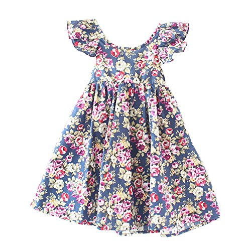 Glamulice Baby Girls Vintage Floral Dress Summer Casual Cotton Flower Backless Straps Beach Dresses (12-18M, Navy Blue)