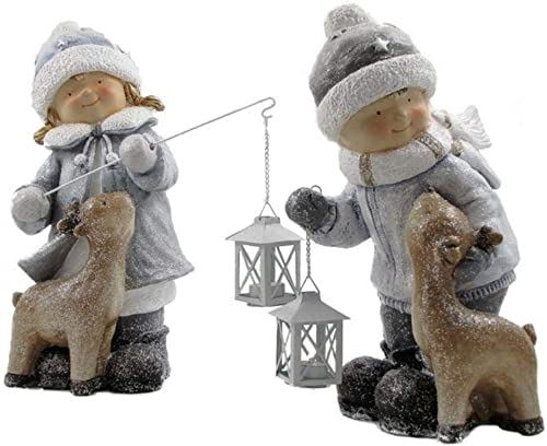 Zaer Ltd. Boy Girl with Baby Deer and Lanterns Christmas Figurine Tushkas