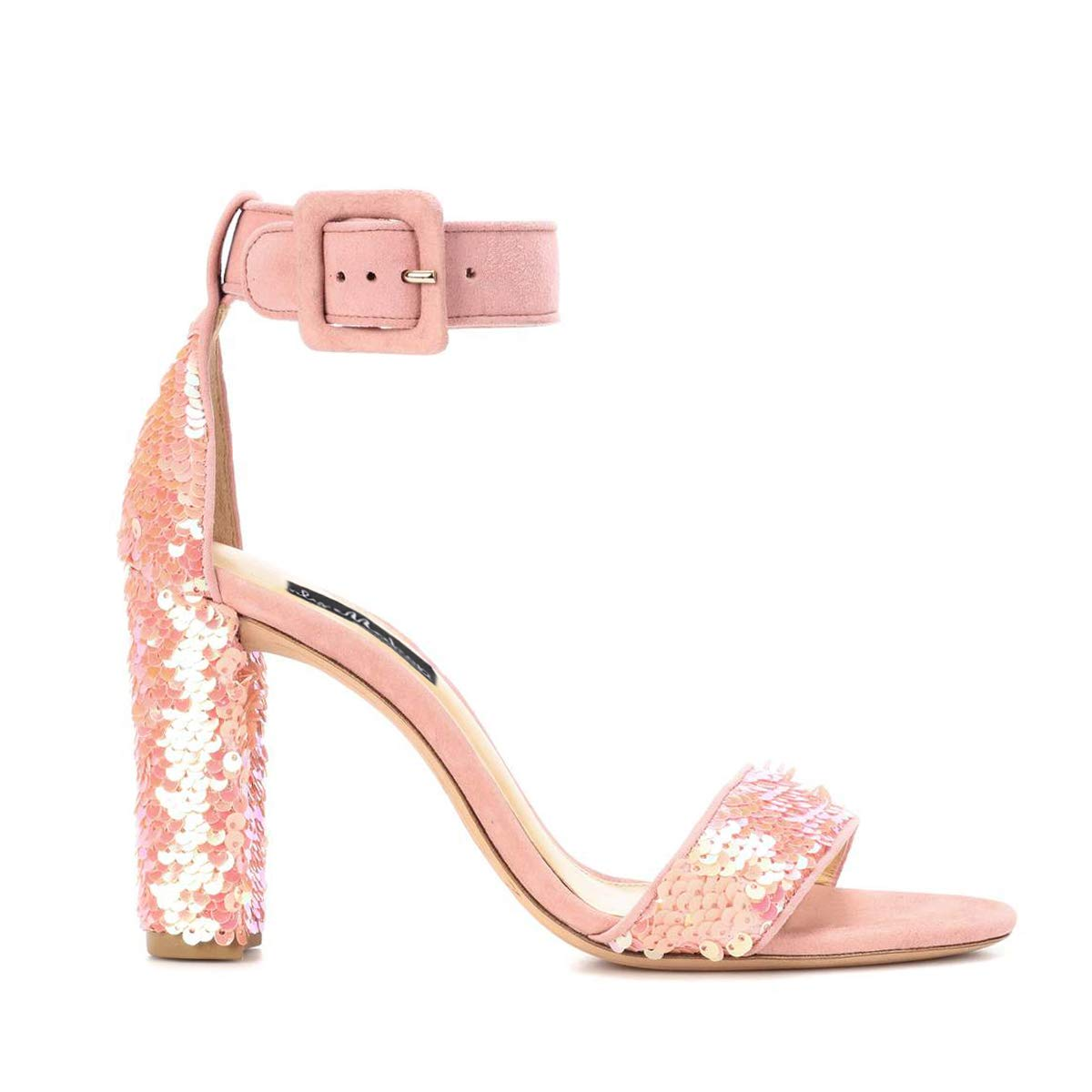 Women's Pink Sparkle Sequin High Block Chunky Heel Ankle Strap Sandals - DeluxeAdultCostumes.com