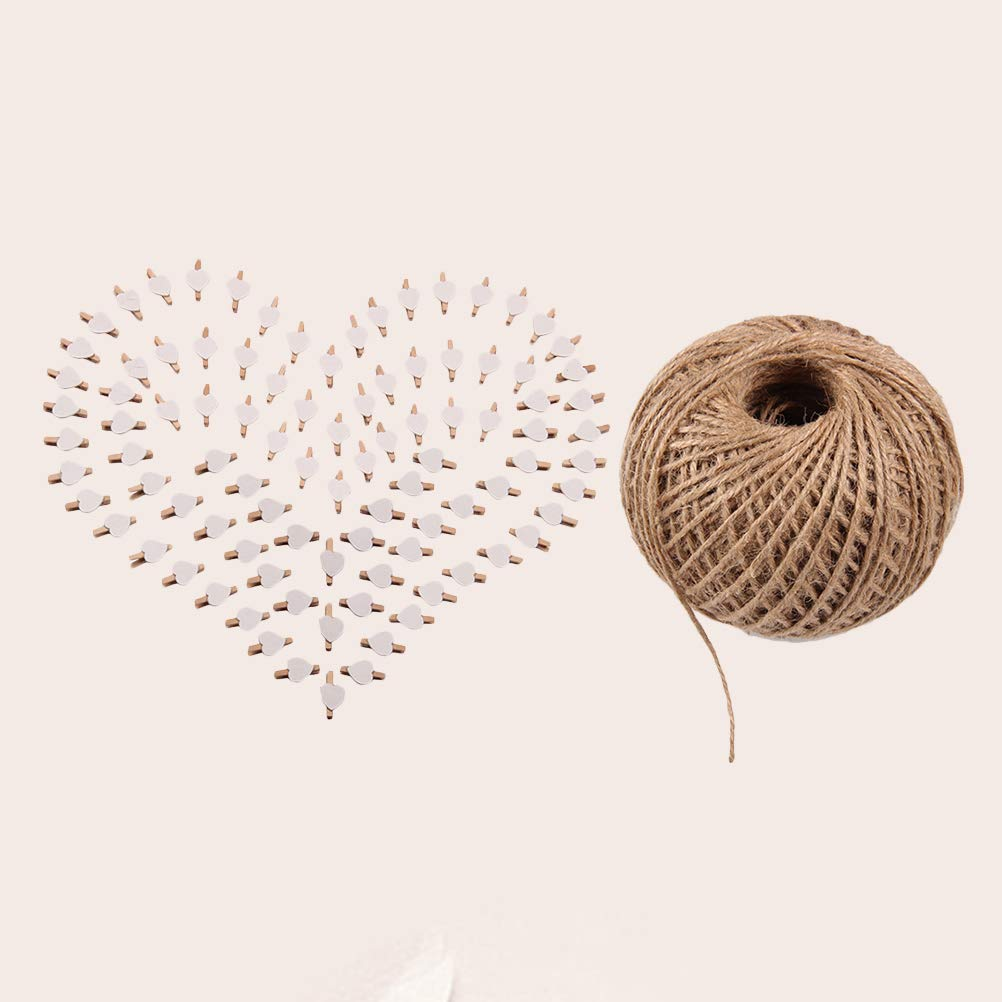 101pcs Picture Clips Set with Jute Twine Wood Craft Clips Photo Pins Clothepins with White Heart Pattern (100pcs Clips and 1pc 100Yard String) by BESTOYARD (Image #9)