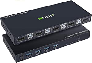 KVM Switch HDMI 4 Port Box, AIMOS HDMI 2.0 KVM Switcher Support Wireless Keyboard and Mouse Connections and with USB Hub Port, UHD 4K@60Hz & 3D & 1080P Supported