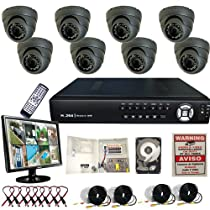 8 Ch Channel Home Office Outdoor Surveillance H.264 DVR Clouid Option Sony CCD 700TVL 2TB LCD