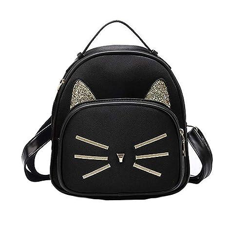 2bc7ac36543 Teen Girls Cute Cat Velvet Backpack Daypack Portable Shoulder Bag,Small  (Black)