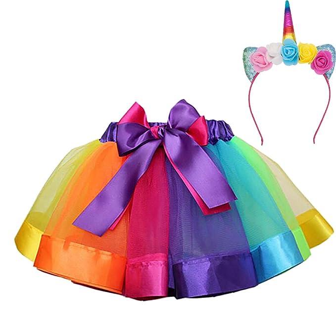 MMTX Girls Rainbow Layered Skirt Ruffle Tiered Tul Tutu Disfraz Layered