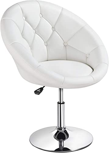 Topeakmart Swivel Adjustable Accent Tufted Chair Stool Round Upholstered Swivel Barrel Chair Vanity Chair Barstool Lounge Pub Bar White