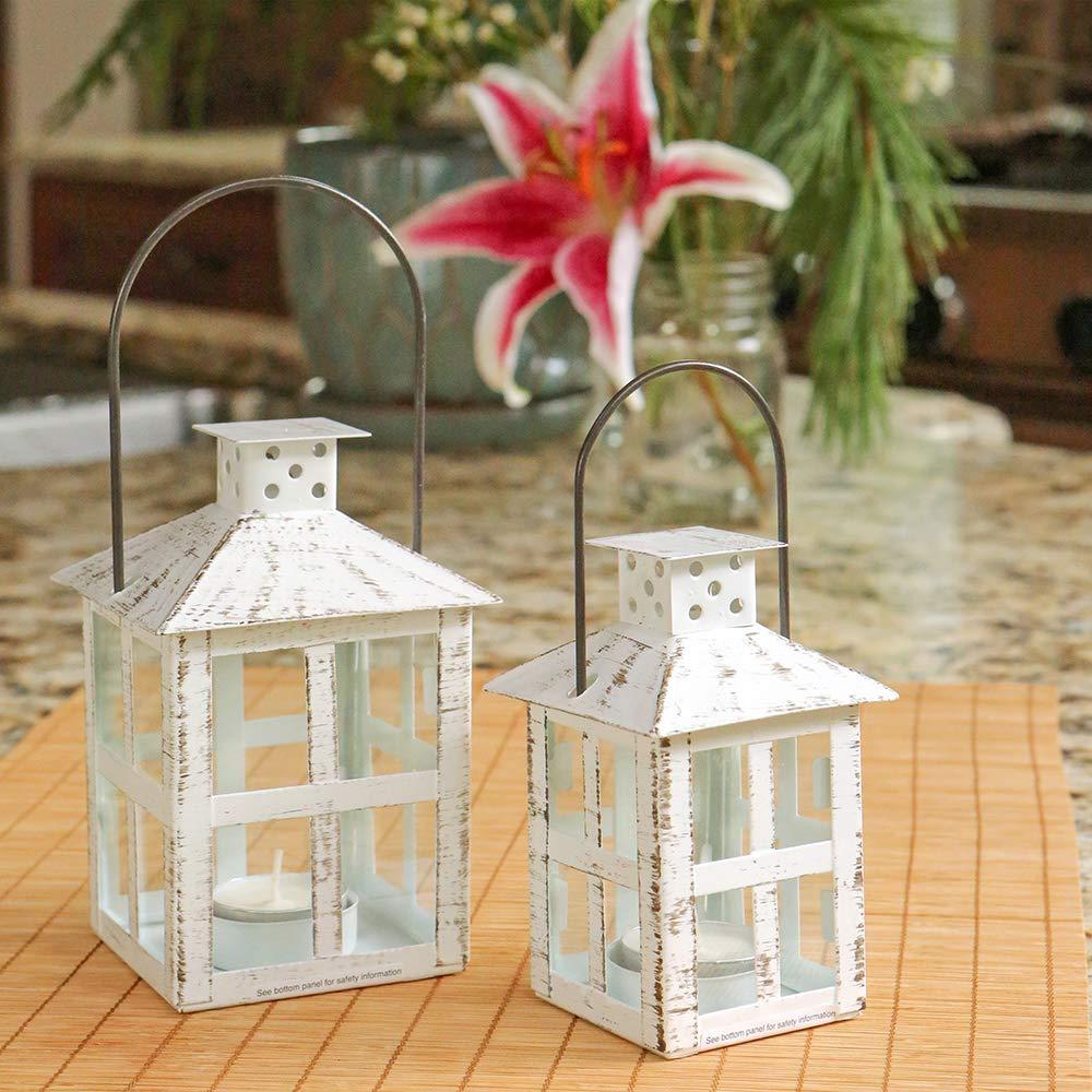 Kate Aspen 14130WT Vintage White Distressed Medium candle lantern One Size
