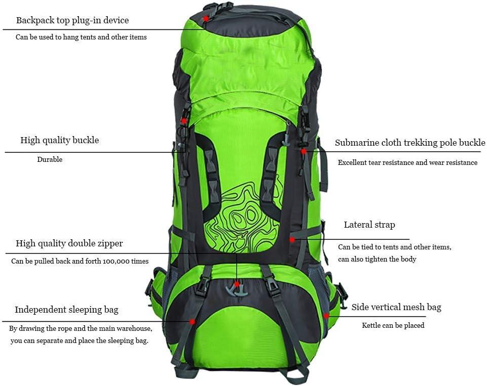 Gymqian Zaino Impermeabile Escursionismo in Campeggio Escursione da Viaggio Borsa 75+10L / Verde Rot IvdCq