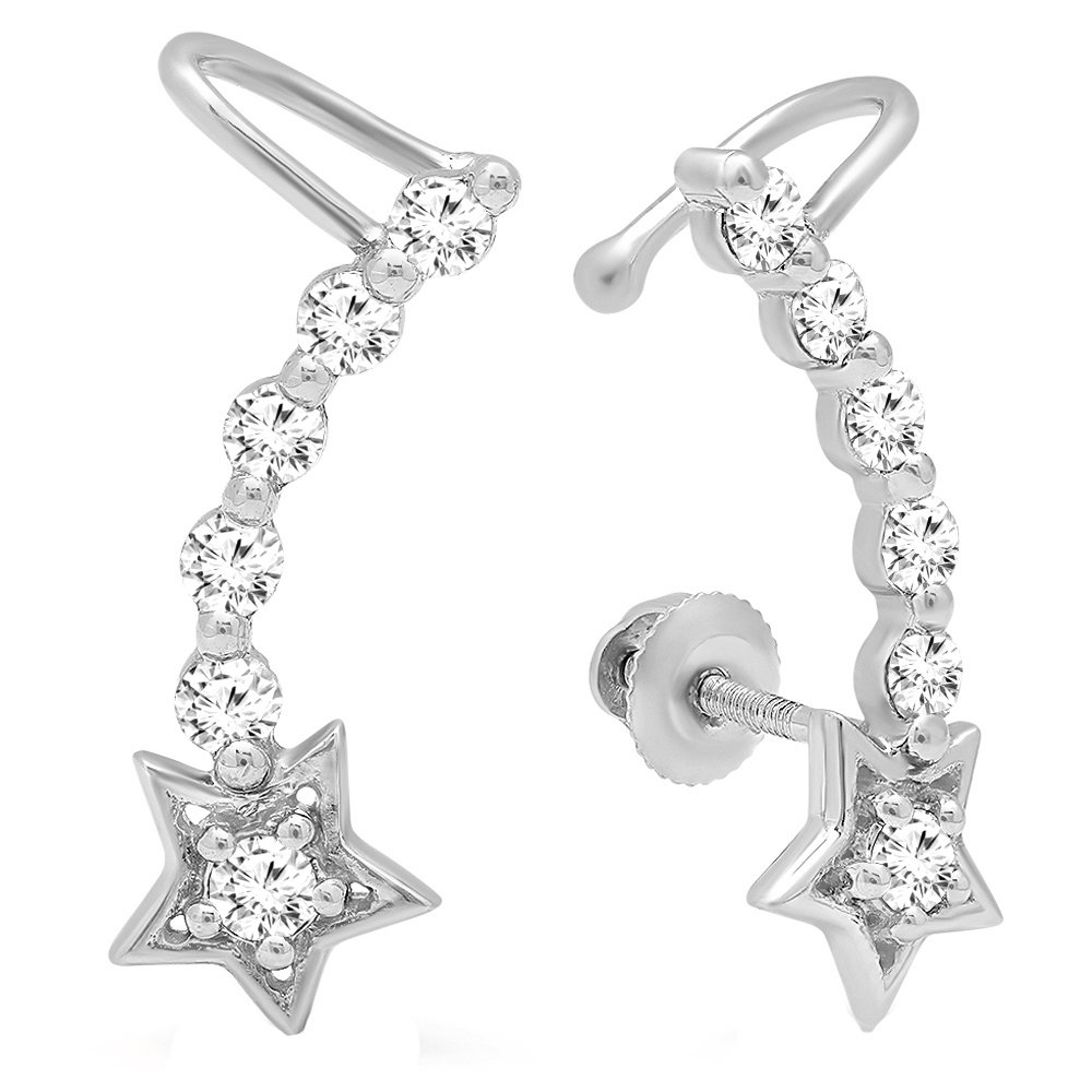0.60 Carat (ctw) 10K White Gold Round Cut White Diamond Ladies Journey Stars shaped Climber Earrings